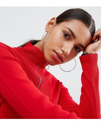 ASOS - Metallic Sterling Silver 60mm Ball Hoop Earrings - Lyst