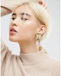 ASOS - Metallic Crumpled Metal Earrings - Lyst
