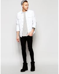 ASOS - Brown Western Denim Shirt In White In Regular Fit - White for Men - Lyst