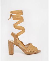 ASOS - Brown Hangman Heeled Sandals - Lyst