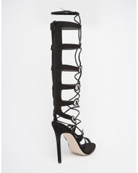 ASOS - Black Headquarter Lace Up Heeled Sandals - Lyst