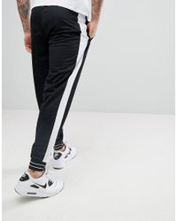 ASOS - Black Super Skinny Joggers In Poly Tricot With Airtex Mesh Side Stripe for Men - Lyst