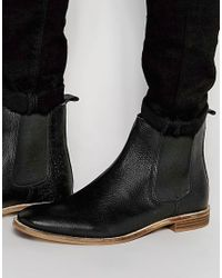 ASOS - Chelsea Boots In Textured Black Leather for Men - Lyst