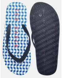 Ted Baker - Black Geo Flyxx Print Flip Flops for Men - Lyst