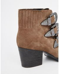 ASOS - Brown Rebel Suede Western Ankle Boots - Lyst