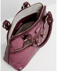 Modalu - Micro Pippa Leather Grab Bag - Claret Red Met - Lyst