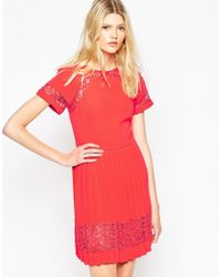 French Connection | Red French Connecton Arrow Lace Pleat Dress | Lyst