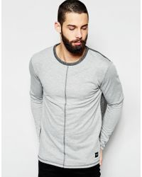 Only & Sons | Gray Nly & Sons Sweatshirt With Dropped Hem & Centre Seam for Men | Lyst