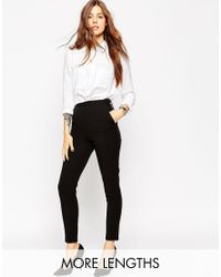 ASOS   Black High Waist Pants In Twill With Zips   Lyst