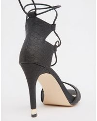 Call It Spring - Atnarko Black Ghillie Lace Up Heeled Sandals - Lyst