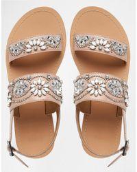 ASOS - Natural Fi Embellished Leather Flat Sandals - Lyst