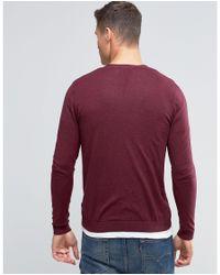 ASOS - Purple Cardigan In Burgundy Cotton for Men - Lyst