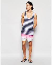 ASOS - Short Length Swim Shorts In Pink Dip Dye - Pink for Men - Lyst
