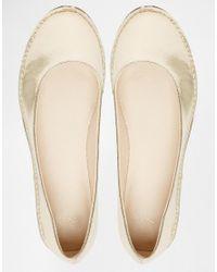 ASOS - Metallic Line Up Ballet Flats - Lyst