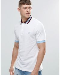 Fred Perry   Polo Shirt With Bomber Stripe Slim Fit In White for Men   Lyst