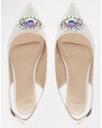ASOS - Green Live It Up Embellished Wide Fit Ballet Flats - White - Lyst