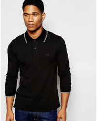 Armani Jeans - Black Stretch Polo Shirt With Tipping Slim Fit Long Sleeves for Men - Lyst