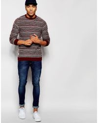 Native Youth | Red Intarsia Indigo Drop Stitch Jumper for Men | Lyst