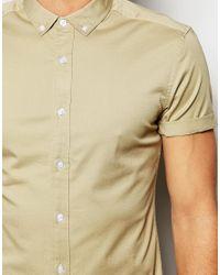 ASOS - Gray Skinny Twill Shirt In Stone for Men - Lyst