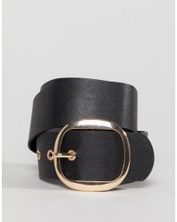 Stradivarius - Black Gold Circle Buckle Belt - Lyst