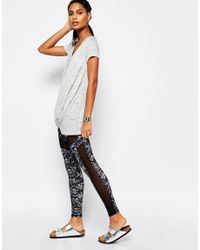 South Beach - Black Outh Beach Printed Mesh Insert Legging - Lyst