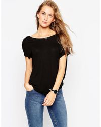 ASOS - T-shirt With Scoop Back - Black - Lyst