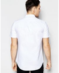 Farah - White Oxford Shirt In Slim Fit Short Sleeves for Men - Lyst