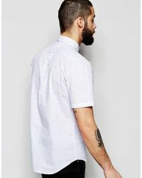 Farah - White Shirt With Dobby Pattern Slim Fit Short Sleeves for Men - Lyst