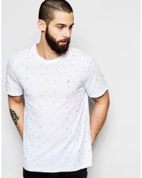 Farah - White T-shirt With All Over Embroidery Slim Fit for Men - Lyst