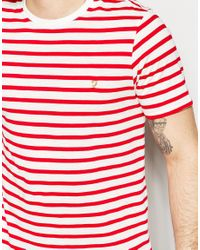 Farah - Red T-shirt With Breton Stripe Slim Fit for Men - Lyst