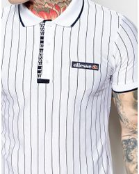 Ellesse - White Polo Shirt With Stripes for Men - Lyst