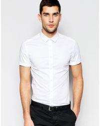 ASOS | Skinny Shirt With Short Sleeves In White for Men | Lyst