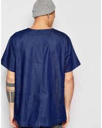 WÅVEN - Denim T-shirt Magnus Crew Neck Torkel Blue Dark Wash for Men - Lyst