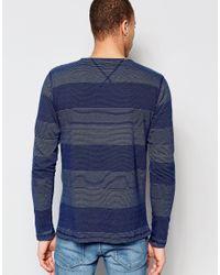 Nudie Jeans - Blue Nudie Long Sleeve Top Orvar Indigo Jaquard Mix Block Stripe In Indigo for Men - Lyst