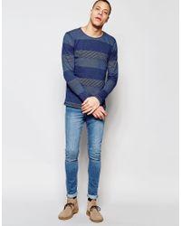 Nudie Jeans   Blue Nudie Long Sleeve Top Orvar Indigo Jaquard Mix Block Stripe In Indigo for Men   Lyst