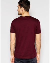 ASOS - Red T-shirt With Crew Neck In Navy And Oxblood Save 17% for Men - Lyst