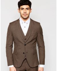 Selected Skinny Dogtooth Suit Jacket With Stretch in Brown for Men