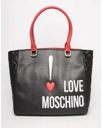 e52cd78bed0 Lyst - Love Moschino Logo Shopper Bag in Black