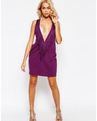 ASOS - Fringed Plunge Beach Cover Up - Purple - Lyst