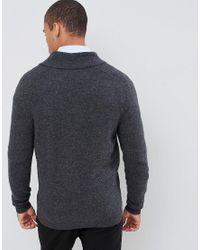 ASOS - Gray Vest Met Sjaalkraag Van Lamswol In Antraciet for Men - Lyst