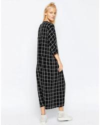 ASOS - Black White Grid Oversized Jumpsuit Dress - Lyst