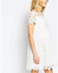 ASOS - White Premium Shift Dress In Lace - Lyst