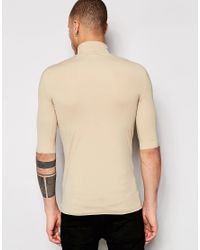 Weekday - Natural Tight T-shirt Turtle Neck Short Sleeve In Beige for Men - Lyst