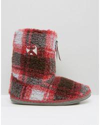 Bedroom Athletics - Red Macgraw Checked Slipper Boot - Lyst