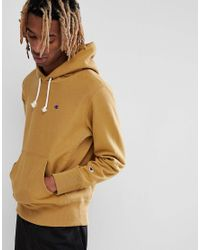 Champion Natural Reverse Weave Hoodie With Small Logo In Stone for men