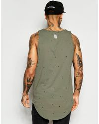 Black Kaviar - Natural Longline Vest With Distressing for Men - Lyst