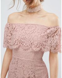 ASOS - Pink Lace Bardot Pencil Midi Dress - Lyst