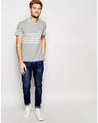 SELECTED - Gray Breton Stripe T-shirt for Men - Lyst
