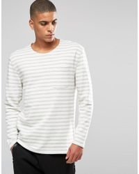 SELECTED - Gray Stripe Sweatshirt for Men - Lyst