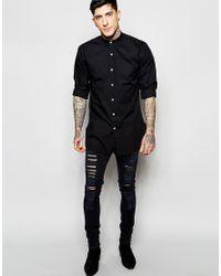 Lindbergh - Longline Shirt With Grandad Collar In Black for Men - Lyst